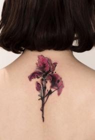 美女后背水墨花卉纹身图案