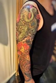 手臂大象与老虎花朵彩绘纹身图案