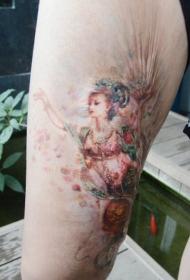 腿部精美的彩绘仙女下凡纹身图案