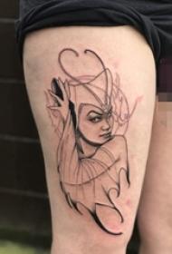 大腿上黑白灰风格点刺身抽象线条人物肖像纹身图片