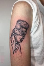 手臂上黑白点刺技巧简单个性线条人物肖像纹身图片