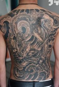 满背很有个性的黑白无常纹身图案