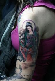手臂观音彩绘纹身图案