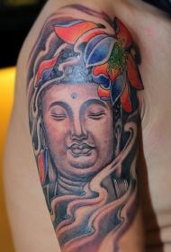 大臂佛像与莲花彩绘纹身图案