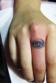 手指上个性的眼睛纹身图案