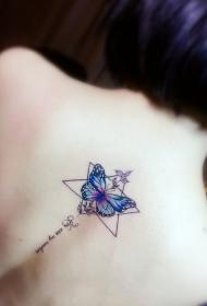 后背个性彩绘蝴蝶几何纹身图案