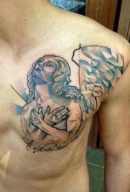 胸部抽象的天使纹身图案