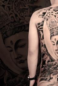 满背文殊菩萨和唐狮个性纹身图案