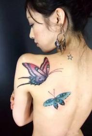 女生后背好看的蝴蝶翩翩彩绘纹身图案