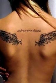黑白个性的简单线条天使翅膀纹身图案