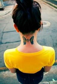 颈部分解的彩色蝴蝶纹身图案