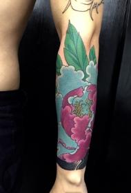手臂花开富贵牡丹花纹身图案