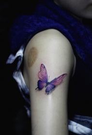 手臂3d彩色蝴蝶个性纹身图案