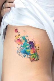 女生腰部大象彩色泼墨纹身图案