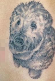 手臂上黑白点刺技巧可爱动物小狗纹身图片