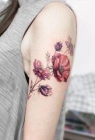 女生手臂上彩色渐变植物简单线条花朵纹身图片