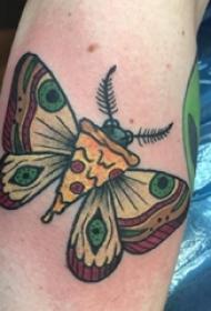 手臂上彩绘个性小动物蝴蝶纹身图片