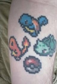 手腕上彩绘像素感卡通纹身图片