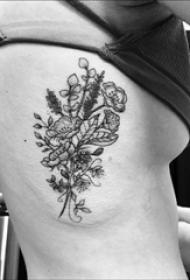 女生侧腰上黑白植物素材简单线条花朵纹身图片