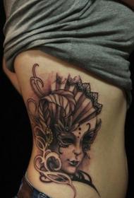 侧肋威尼斯性感女郎纹身图案