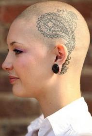 美女头部个性梵花纹身图案