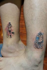 情侣脚踝滑雪肖像彩绘纹身图案