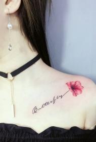 女生锁骨处的英文与花朵纹身图案