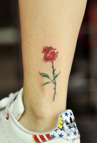 小腿下的鲜艳小玫瑰花纹身图案