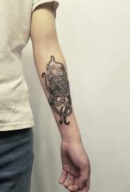 手臂复古个性指南针纹身图案