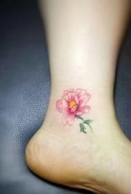 脚踝上的时尚迷人花朵纹身图案