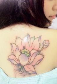 女生背部清新淡雅的莲花彩绘纹身图案