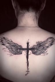 后背完美组合十字架和翅膀纹身图案