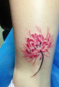 小腿处抢眼的彩色彼岸花纹身图案