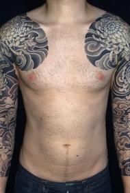 半甲个性菊花盛放纹身图案