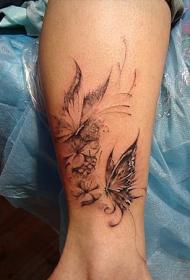 精雕时尚的腿部蝴蝶纹身图案
