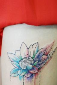 美女腿部性感的彩墨莲花纹身图案