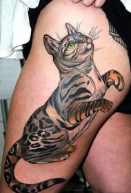 女性腿部时尚好看的猫咪纹身图案