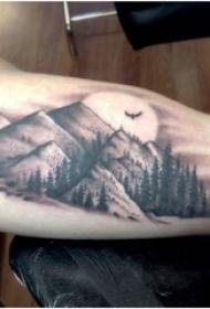 男生手臂上黑灰点刺技巧山和树风景纹身图片