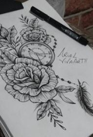 黑色素描点刺技巧唯美花朵和怀表纹身手稿