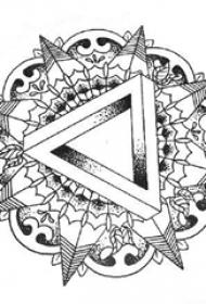 黑色线条素描几何元素创意花纹纹身手稿