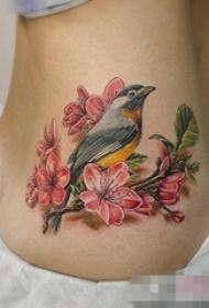 女生侧腰彩绘树枝上的小鸟和花朵纹身图片