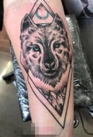 男生手臂上黑灰素描霸气狼头纹身图片