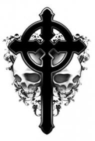 男性喜爱的简单十字架纹身植物藤和骷髅头纹身手稿