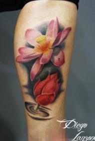 多款争奇斗艳的抽象线条文艺花朵纹身图案