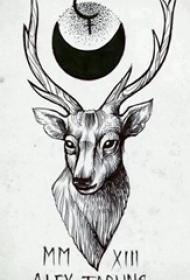 黑色素描创意动物麋鹿纹身手稿