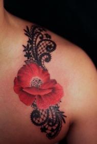 肩部逼真的红色花蕊纹身图案