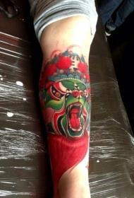 熊猫花脸中国脸谱腿部纹身图案