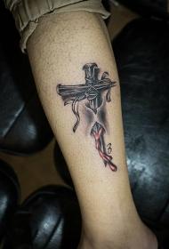 小腿刻骨铭心的十字架3d纹身图案