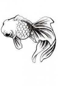 黑色素描创意个性可爱小金鱼纹身手稿