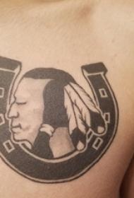 男生胸部黑色抽象线条人物肖像纹身图